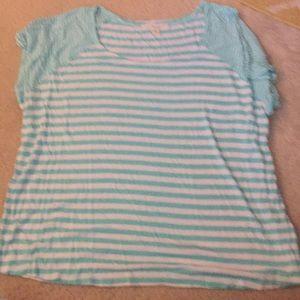 Mint/white stripe shirt